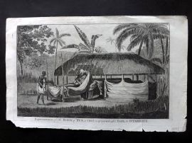 Cook, Anderson, Hogg 1784 Antique Print. Body of Tee, a Chief preserved. Tahiti